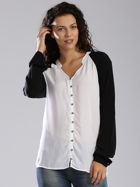 Tommy Hilfiger Black & White Colourblocked Top