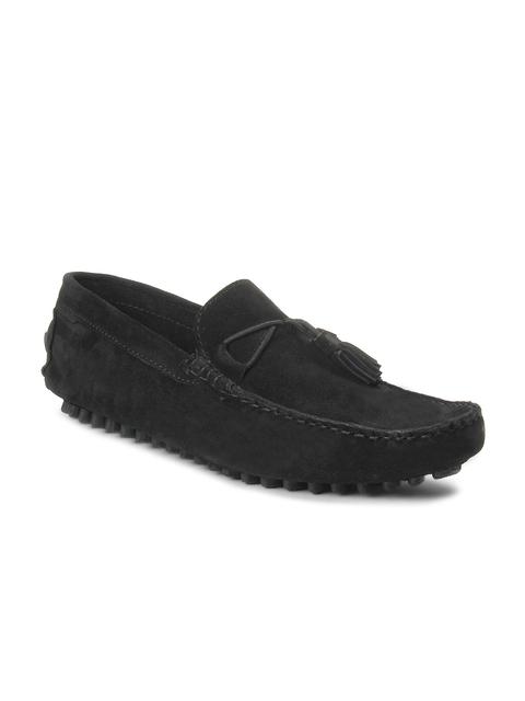 bacca bucci Men Black Suede Driving Shoes
