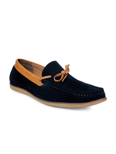 bacca bucci Men Black Suede Boat Shoes