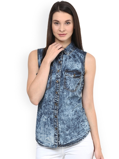 StyleStone Blue Acid-Washed Denim Casual Shirt