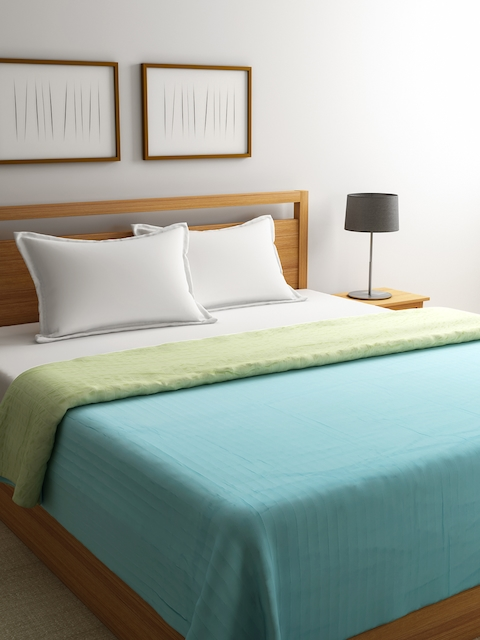 Raymond Home Blue Polyester Self-Design Double Bed Cover