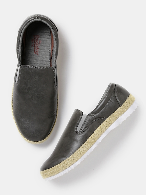 Roadster Men Grey Slip-Ons  available at myntra for Rs.539