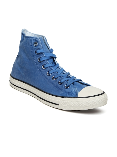 Converse Men Blue Solid High-Top Sneakers