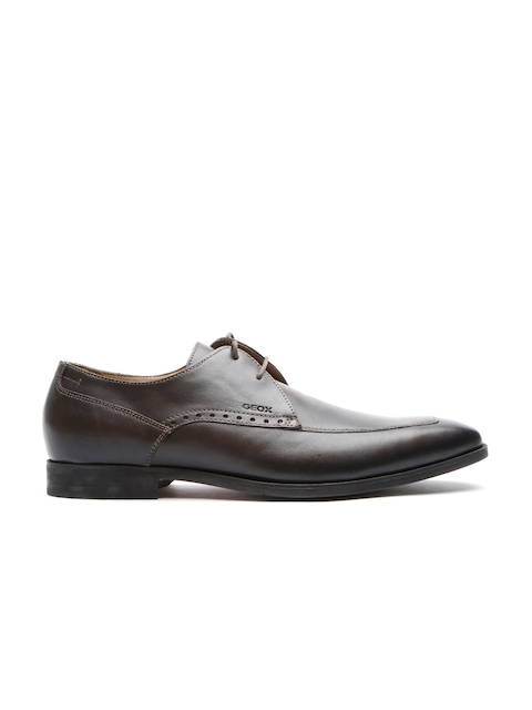 GEOX Respira Men Brown Italian Patent Leather Formal Shoes
