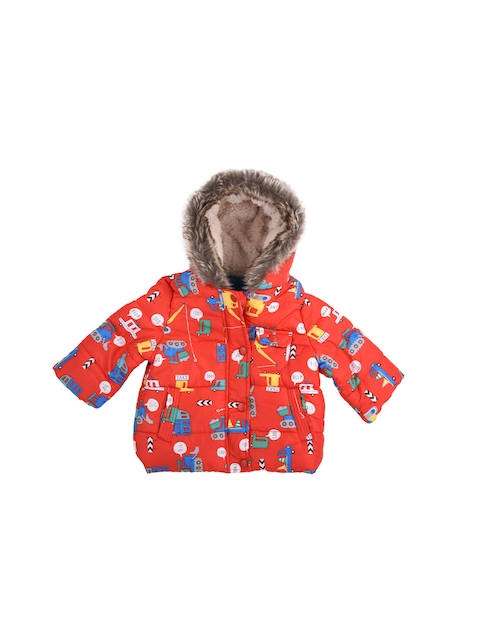 mothercare Boys Red Printed Hooded Jacket