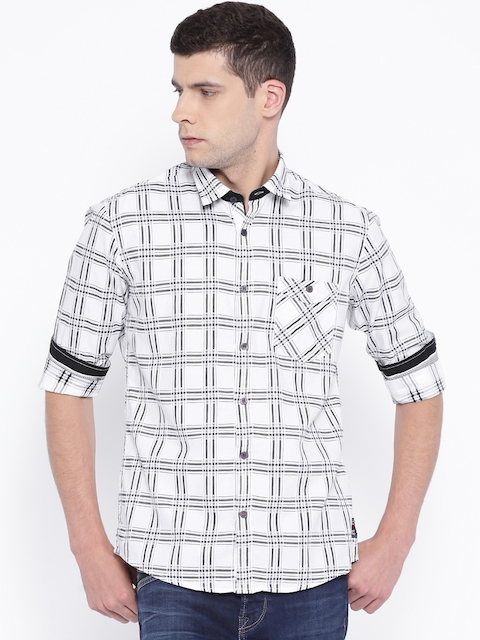 Killer White & Black Checked Lean Fit Casual Shirt