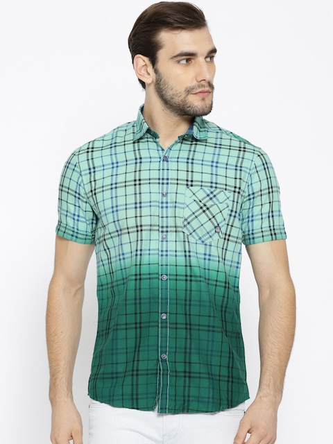 Killer Green Ombre-Dyed Checked Lean Fit Casual Shirt
