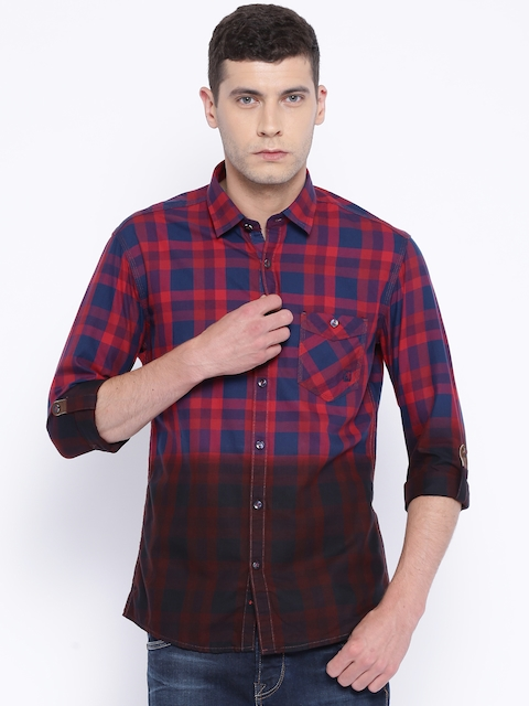 Killer Navy & Red Checked Lean Fit Casual Shirt