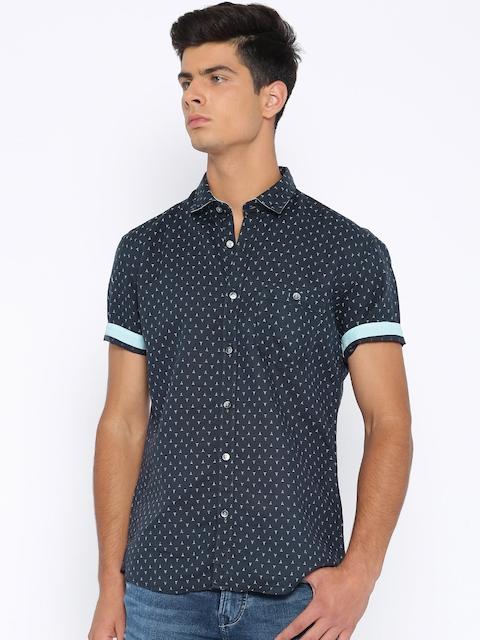Killer Navy Printed Lean Fit Casual Shirt
