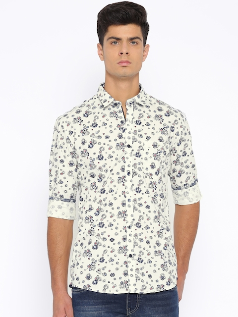 Killer Off-White Printed Lean Fit Casual Shirt