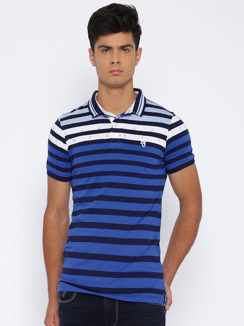 Killer Blue & White Striped Polo T-shirt
