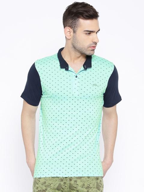 Killer Sea Green Printed Polo T-shirt