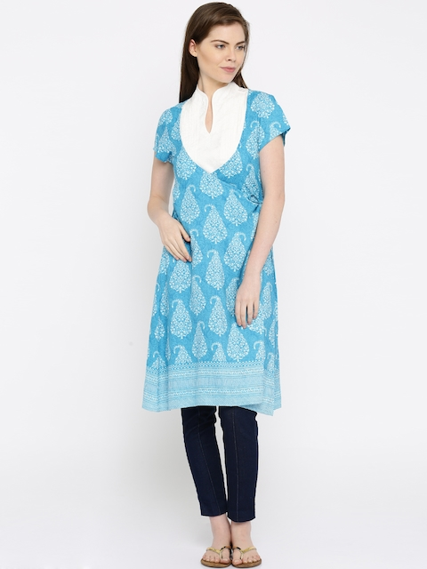 Anouk Women Blue Printed A-Line Kurta