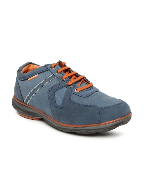 Red Chief Men Blue Leather Perforated Sneakers