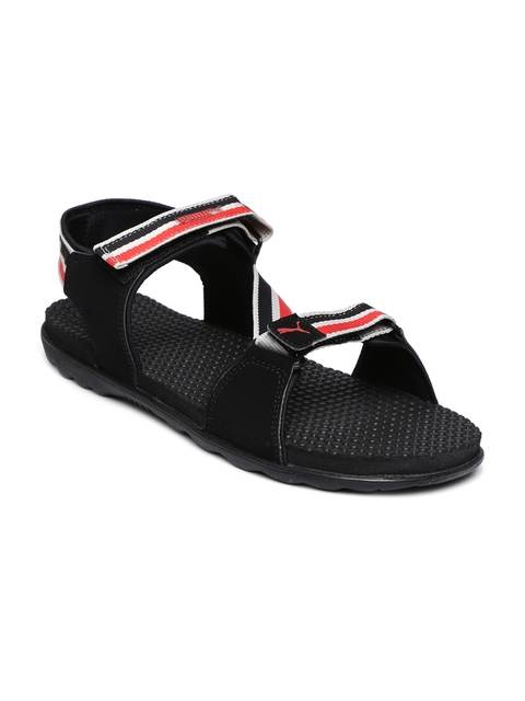 Puma Men Black & Red Striped Silicis Mesh IDP Sports Sandals