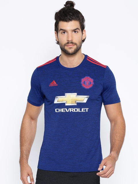 Adidas Blue Polyester Manchester United Printed Jersey