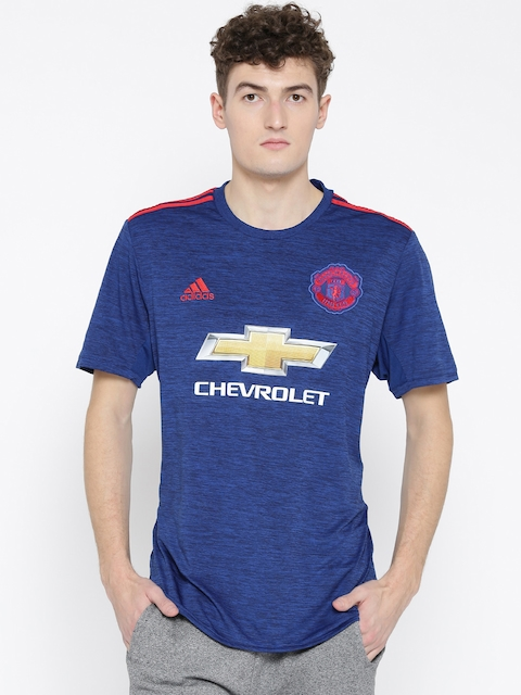 ADIDAS Men Blue Polyester Manchester United Printed Jersey