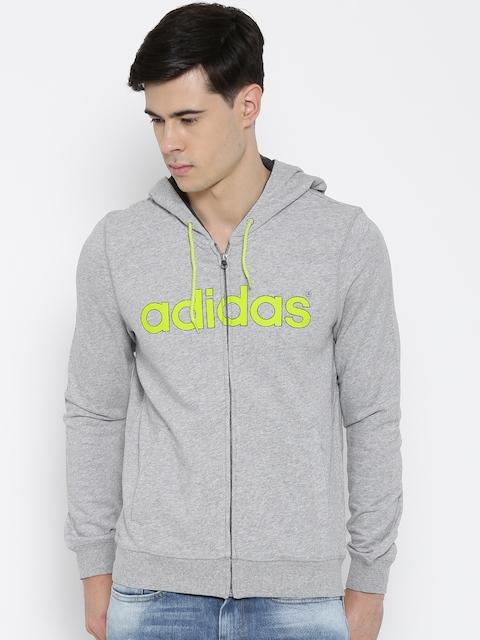 Adidas NEO Grey Melange CE LG FT Z Printed Hooded Sweatshirt