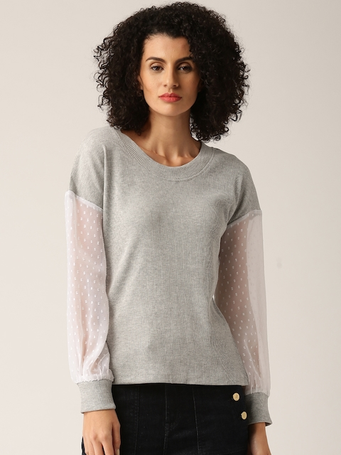 DressBerry Women Grey Melange Solid Pullover Sweatshirt  available at myntra for Rs.449