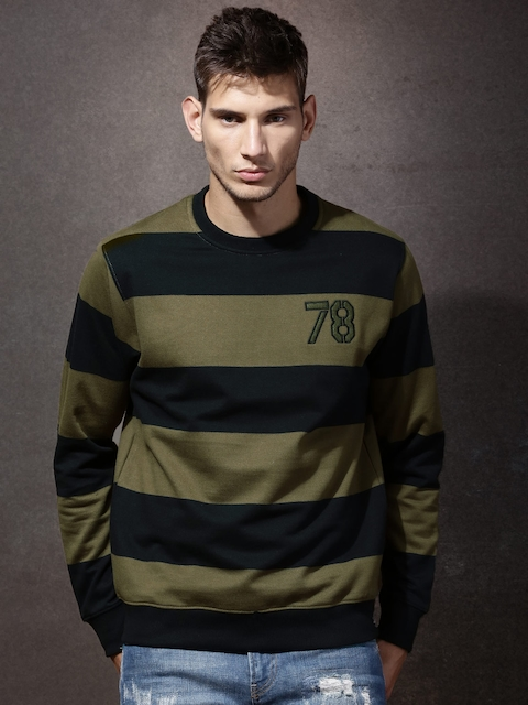 Roadster Black & Olive Green Striped Sweatshirt