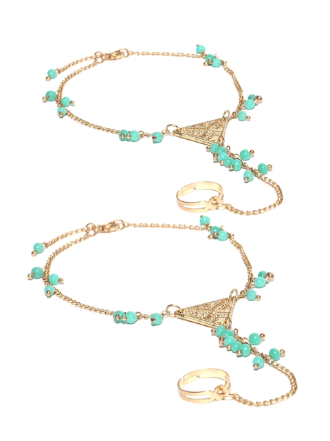 Blueberry Gold-Toned & Turquoise Blue Beaded Multistranded Ring Anklets