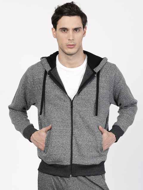 ether Men Grey Melange Hooded Sweatshirt