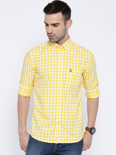U.S. Polo Assn. Yellow & White Checked Tailored Fit Casual Shirt