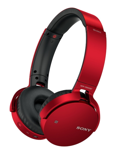 Sony Red On-Ear Extra Bass(XB) Wireless Headphones with Bluetooth & Mic