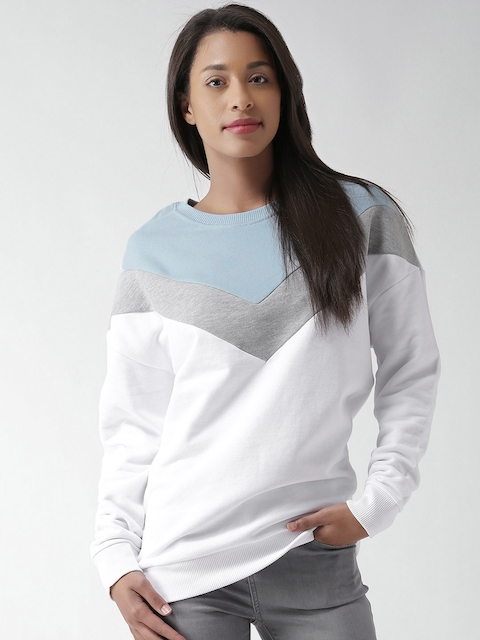 New Look White & Blue Colourblocked Sweatshirt