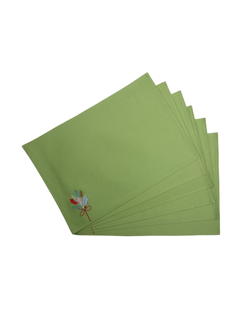 MASPAR Green Set of 6 Embroidered Table Placemats