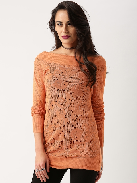All About You from Deepika Padukone Orange Deep V-Back Lace Sweater