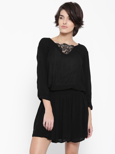 Vero Moda Black Crinkled Blouson Dress