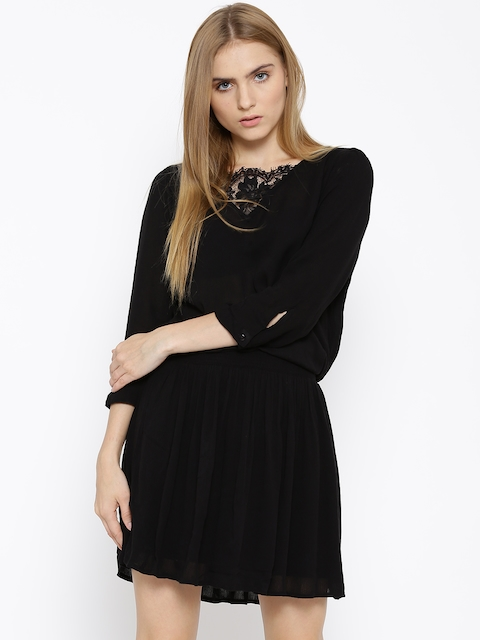 Vero Moda Black Crinkled Blouson Dress