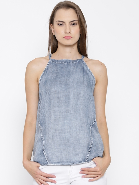 Vero Moda Blue Washed Denim Top