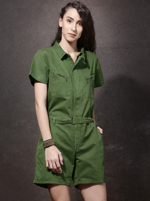Roadster Olive Green Rompers