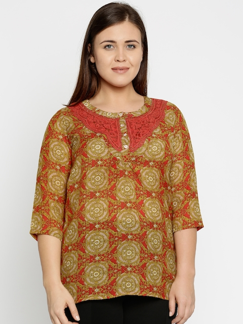 Style Quotient Mustard Yellow & Red Printed Plus Size Kurti