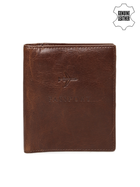 Fossil Men Brown RFID Protected Genuine Leather Passport Holder