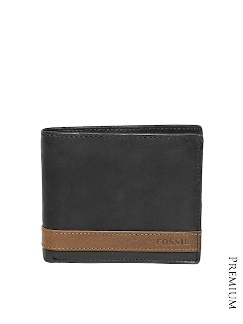 Fossil Men Black Genuine Leather Wallet