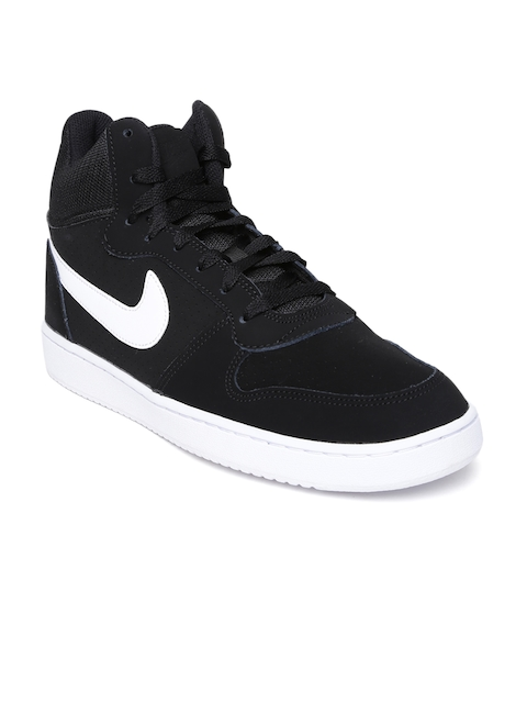 Nike Men Black Court Borough Suede Mid-Top Sneakers