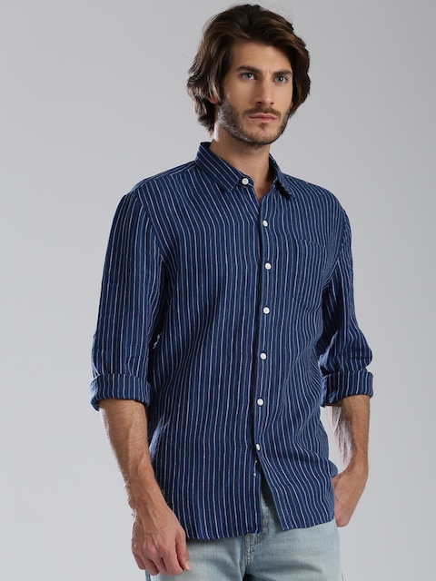 Levi's Redloop Blue Striped Linen Casual Shirt