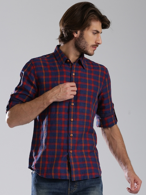 Levi's Navy & Red Checked Slim Fit Casual Shirt