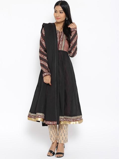 BIBA Black & Beige Printed Anarkali Kurta with Trousers & Dupatta