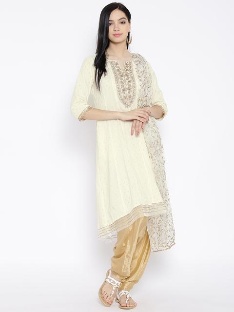 BIBA Off-White & Beige Zari Embroidered Anarkali Salwar Suit