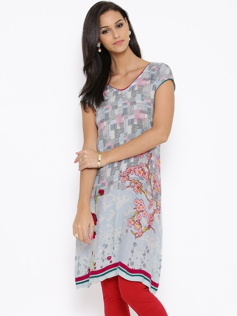 BIBA Blue & Grey Printed A-Line Tunic  available at myntra for Rs.539