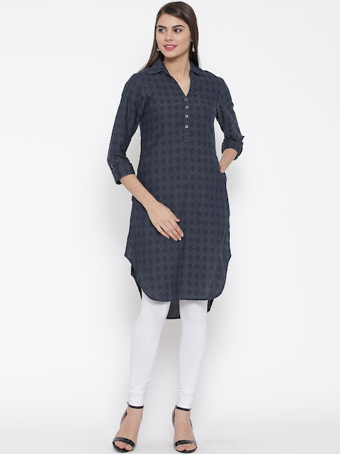 Biba Women Navy Blue Woven Design High-Low Hem Denim Kurta