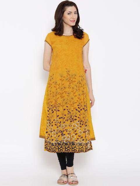BIBA Mustard Yellow Polyester Floral Print Kurta