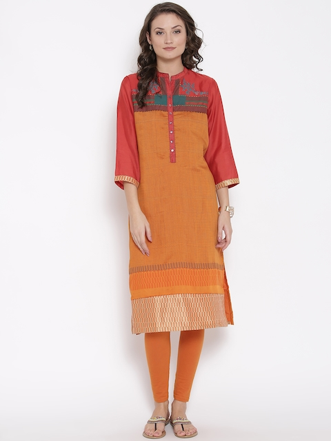Biba Women Orange Printed Straight Kurta