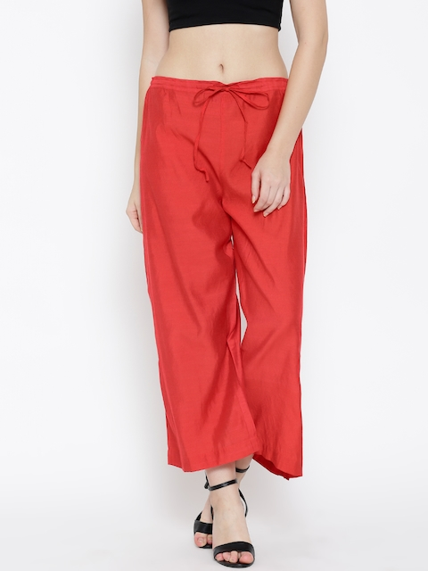 Biba Women Red Solid Palazzo Trousers