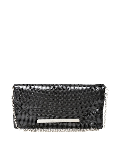 Lino Perros Black Shimmer Clutch with Chain Strap