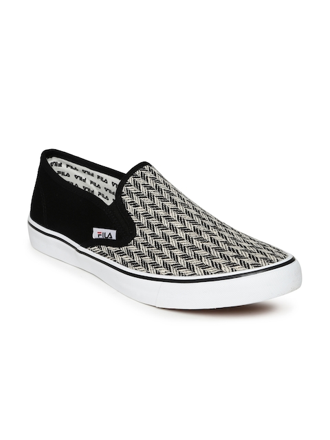 FILA Men Black & White Mario Woven Slip-Ons